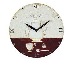 COUNTRY HOME: Reloj de pared en madera Coffee Time - Ø29