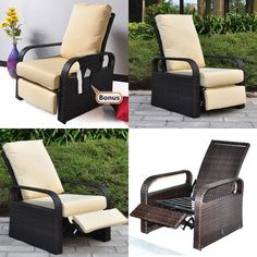 ATR All Weather Wicker Chair Sofa - Adjustable Patio Garden Recliner With Cushio for sale Garden Chairs, Garden Furniture, Outdoor Furniture Sets, Garden Recliners, Waterproof Cushions, Outdoor Chairs, Outdoor Decor, Sofa Chair, Wicker