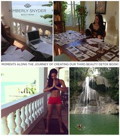 The next Beauty Detox book is almost available for pre-order!   Here is a collage of me starting to write the book one year ago in Puerto Rico. I would write all day, then go in nature, get super inspired, and write some more. And of course, I would practice yoga and meditate before I started the writing day…and there is also one pic of me choosing and placing all the photos in the book. I can NOT wait to share the book with you… I am so excited!!!