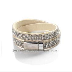 pulseras de cristal color blanco para mujeres