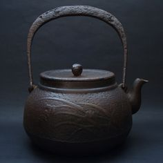 SUPERSIZE Tetsubin Japanese Antique Vintage Ironware Cast Iron Kettle Pot w Sign | eBay
