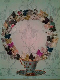 """O"" Butterflies mixed media collage by Lisa DiRocco"