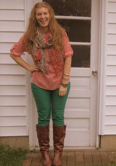 green skinnies, boots, scarf, and colored shirt