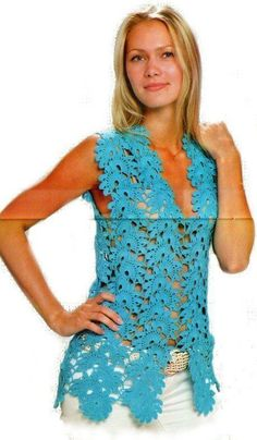 Knitting female western models knitting baby vest samples # Tigis of Crochet Waistcoat, Gilet Crochet, Crochet Shirt, Crochet Cardigan, Irish Crochet, Crochet Lace, Halter Outfit, Diy Crafts Knitting, Summer Coats