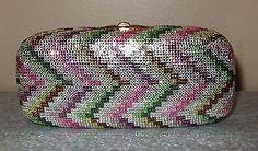 RARE-Judith-Leiber-Chevron-Zigzag-Pink-Crystal-Miniaudiere-Clutch