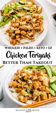Chicken Teriyaki Rezept, Sauce Teriyaki, Teriyaki Chicken Rice Bowl, Chicken Rice Bowls, Whole 30 Diet, Paleo Whole 30, Whole 30 Meals, Whole Foods, Whole 30 Lunch