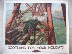Scotland For Your Holidays - The World Famous Forth Bridge, by Terence Tenison Cuneo. This fabulous poster is one of Cuneo's finest for British Railways. It is from a painting of the early 1950s, printed in 1952 for the Scottish Region. Original Vintage Railway Poster available on originalrailwayposters.co.uk