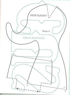 Tilda Elephant pattern template. Cotton fabrics.