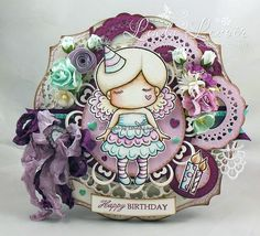 From our Design Team! Card by Linda Levoir featuring Paper Doll Marci (Birthday) and these Dies - Open Hearts Doily Border, Stitched Nested Circles, Heart Doily Border, Heart Doily, Folding Banners :-)  Shop for our products here - shop.lalalandcrafts.com  Coloring details and more Design Team inspiration here - http://lalalandcrafts.blogspot.ie/2015/03/inspiration-monday-doilies.html