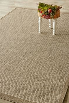 Taupe Super Natural (1.8 X 2.8): Water-resistant, durable poly-propylene woven flatweave (1.8 X 2.8 m). Add textu...