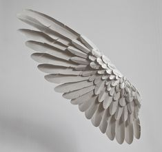 by paper artist Nolvenn Le Goff Owl Wings, Feather Angel Wings, Design Reference, Art Reference, Color Make, Angel Wings Drawing, Wings Sketch, Cosplay Wings, Angle Wings