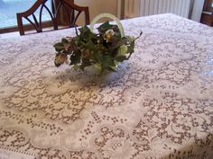 Lovely Vintage Quaker Lace Tablecloth, Off White / Light Ivory, Oblong, 72 x 54 by TeresasTreasuresEtc on Etsy