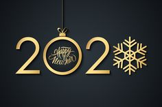 2020 Happy New Year celebrate banner with handwritten holiday greetings, golden christmas ball and snowflake. You will get: - AI file (version CC) with 2020 graphic - EPS file (version Happy New Year Banner, Happy New Year Pictures, Happy New Year Message, Happy New Year Cards, Happy New Year Wishes, Happy New Year Greetings, Merry Christmas Wishes, Merry Christmas And Happy New Year, Happy New Year Wallpaper