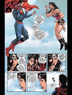 Superman and Wonder Woman fight Wonder Woman Y Superman, Superman Art, Wonder Woman Comic, Batman And Superman, Comic Book Layout, Comic Books Art, Comic Art, Super Hero Couples, Mundo Superman