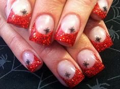 Red glitter french tips with spider accent stamp...