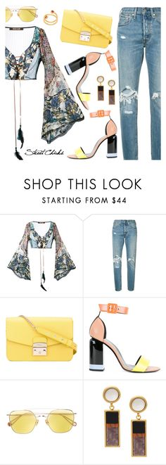"""""""Street Chic"""" by dressedbyrose ❤ liked on Polyvore featuring Roberto Cavalli, Levi's, Furla, Pierre Hardy, Ahlem and Lizzie Fortunato"""