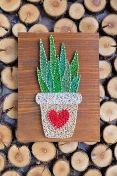 Succulent plant decoration in a pot. Cute Cactus wall decoration for plant, succulent or cactus lover. Only high quality materials are used in the preparation of this string art. Wood base is stained and waxed with high quality materials. You can hang it on your wall using two brass
