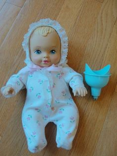 """This was one of my favorite dolls!   12"""" Vintage 1990 Lauer Cute Blonde Water Baby w/ Original Pajamas and Funnel"""