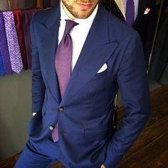 #mensfashion #suitporn Navy Suit with Purple Tie