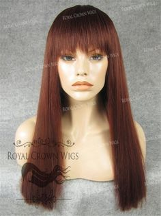 Synthetic Straight with bang in Burgandy - Non Lace