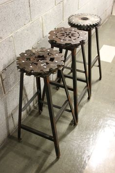 Set of 3 Industrial Bar Stools by TablesAndStuff on Etsy, $1,000.00