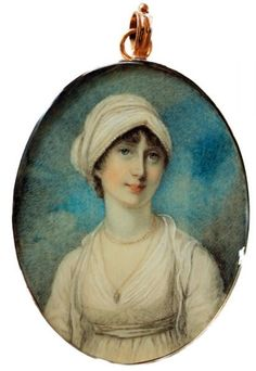 Richard Cosway, 1802 Lady Sarah Elizabeth Archer wearing a white dress and matching turban by RICHARD COSWAY - Portrait Miniatures of Claudia Hill at Ellison Fine Art