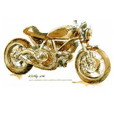Dave Hendroff The Artisan Store Fremantle DUCATI SCRAMBLER CUSTOM Sketched with Coffee Wash & Graphite on paper.