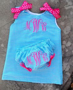 Monogrammed Baby A line Dress with matching Bloomers by SewChristi