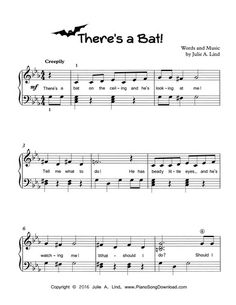 Learn Piano Songs There's a Bat! Free printable Halloween song for piano. Piano Songs, Piano Sheet Music, Piano Lessons, Music Lessons, Piano Classes, Halloween Songs, Piano Teaching, Learning Piano, Singing Lessons