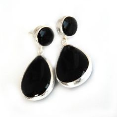 Black Onyx Drop Earrings by toosis Ruby Necklace, Blue Earrings, Turquoise Earrings, Unique Earrings, Beautiful Earrings, Dangle Earrings, Unique Jewelry, Tourmaline Earrings, Green Tourmaline