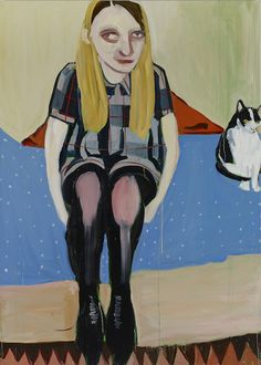 Chantal Joffe Moll with the Cat 2014 olio su tela / oil on canvas 213,5 x 152,5 cm Courtesy the Artist, Victoria Miro Gallery, Collezione Maramotti © Chantal Joffe