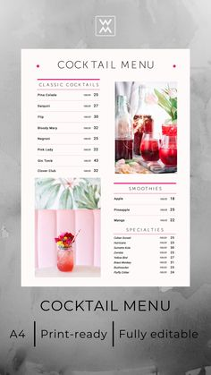 Cocktail menu design | Дизайн коктейльного меню