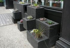 We could make our home more beautiful with cinder block planter ideas on your terrace, front yard or backyard. Take a look our cinder block collections .Read More. Cinderblock Planter, Cinder Block Garden, Cinder Blocks, Cinder Block Ideas, Cinder Block Paint, Cinder Block Bench, Modern Planters, Concrete Blocks, Outdoor Projects