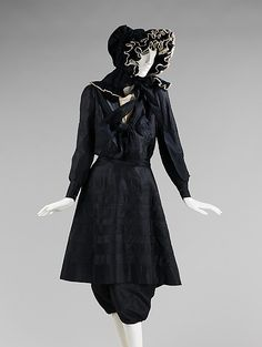 Beachwear. 1895. Women in this time period were still required to wear elements such as a corset and stockings to remain modest while bathing. Beachwear was worn while walking along the shore or romping in the shallow waves, and was often made in materials, such as the taffeta of this ensemble, that would be ruined by the water.