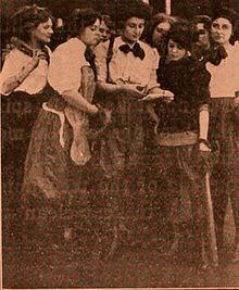 Still from the 1911 silent film Baseball and Bloomers.  The film is lost.