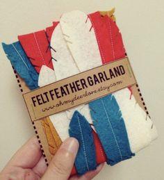Felt Feather Garland by ohmydeerlove on Etsy