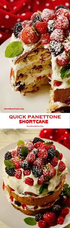 Semi-homemade, quick, SHOW STOPPER holiday dessert made from store-bought chocolate chip panettone, vanilla whipped cream, and berries.