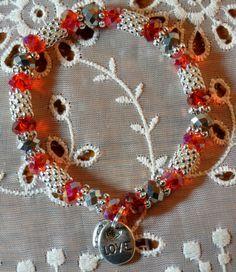 Love Hope Angel Bracelet Red & Silver by HopeAngelBracelets