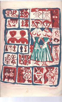 Campigli Signed Massimo Campigli Les Jumelles 1957 Signed Original Lithograph The Twin Gallery of France
