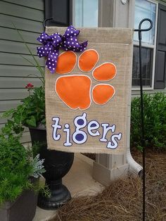Clemson Tigers Garden Flag by on Etsy Clemson Football, Clemson Tigers, Football Season, College Football, Burlap Garden Flags, Burlap Flag, Tiger Design, Yard Flags, Applique