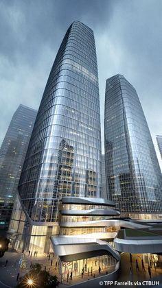 One Excellence Complex - The Skyscraper Center Modern Architecture Design, Commercial Architecture, Facade Design, Futuristic Architecture, Beautiful Architecture, Facade Architecture, Future Buildings, City Buildings, Modern Buildings