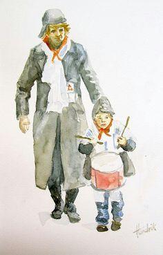 Kleine trommelaar, aquarel Hendrik Boot