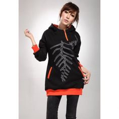 Cheap Wholesale Loose Fitting Zipper Hooded Long Sleeve Cotton Women's Long Hoodie (BLACK,ONE SIZE) At Price 13.04 - DressLily.com