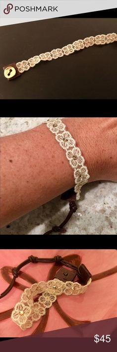 Chan Luu bracelet (NWOT) Cream floral lace bracelet on brown leather Adjustable Chan Luu Jewelry Bracelets