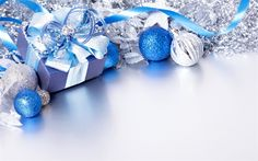 Download wallpapers blue Christmas balls, 4k, Christmas, New Year decorations, New Year 2018, ribbons