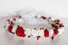 Floral crown, Red berry wreath, Red and white holiday crown, Wedding flower crown, Hair wreath Halo, Winter wedding, Woodland hairpiece