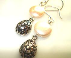 Handmade Earrings Floral Sterling Silver Bali Drops by JensFancy, $25.00