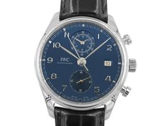 IWC Portugieser Chronograph Classic Steel Watch, Featuring a Blue Dial, Black Alligator Strap and Automatic Movement