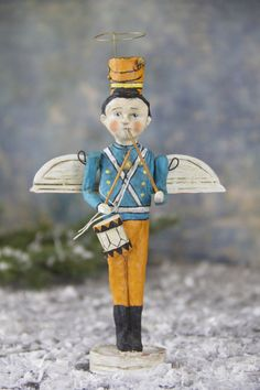 Debbee Thibault Angel of the Christmas Toys. Handmade Drummer Boy Angel Christmas Decoration.