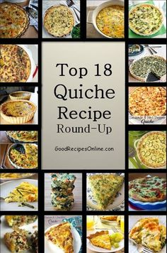 Check out this amazing collection of 18 Quiche Recipes. I Love Quiche for so many reasons. They are low Carb (except the crust). Quiche is good anytime of day, breakfast, lunch or dinner. SA...